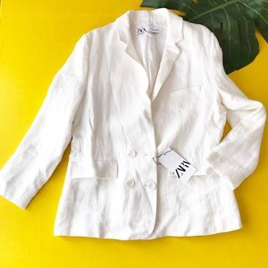Zara Pure White Linen Double Breasted Blazer Coat